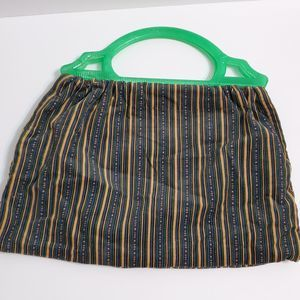 Vintage Striped Handbag Green Acrylic Handle
